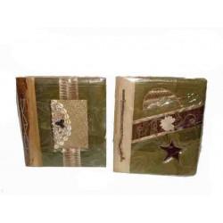 ALBUM FOTO 24x28 C, 40 ZDJĘĆ 10x15 CM, KARTKI Z PAPIERU CZERPANEGO, OKŁADKA Z LIŚCI BANANOWCA
