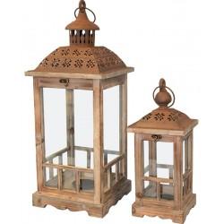 Lampion Drewniany Kpl